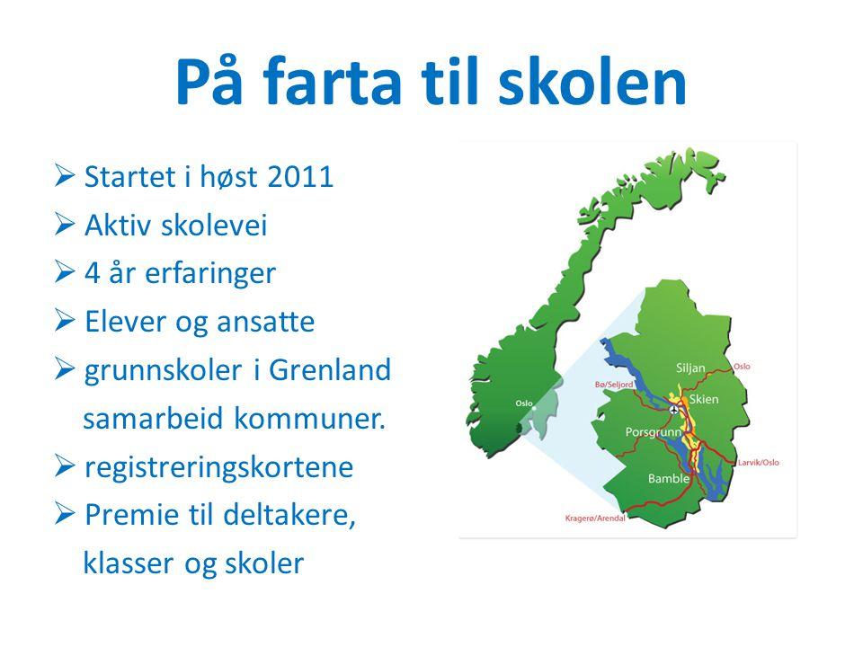 På farta til skolen  Startet i høst 2011  Aktiv skolevei  4 år erfaringer  Elever og ansatte  grunnskoler i Grenland samarbeid kommuner.  regist