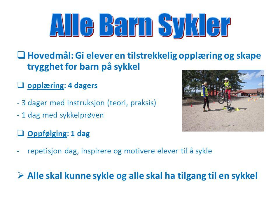  Hovedmål: Gi elever en tilstrekkelig opplæring og skape trygghet for barn på sykkel  opplæring: 4 dagers - 3 dager med instruksjon (teori, praksis)