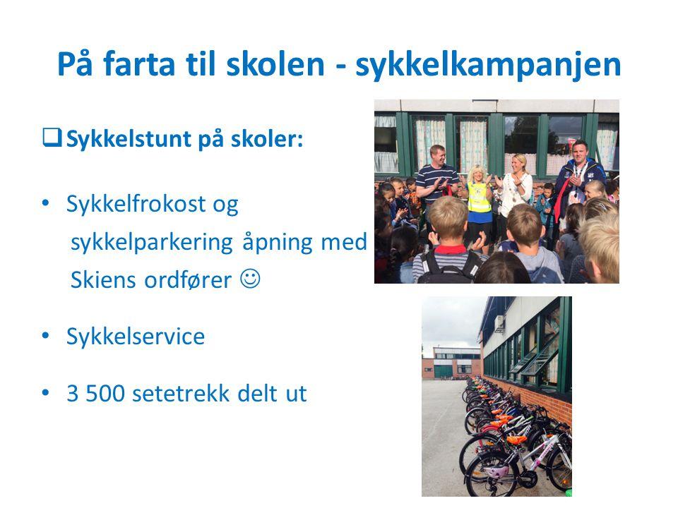 På farta til skolen - sykkelkampanjen  Sykkelstunt på skoler: Sykkelfrokost og sykkelparkering åpning med Skiens ordfører Sykkelservice 3 500 setetre
