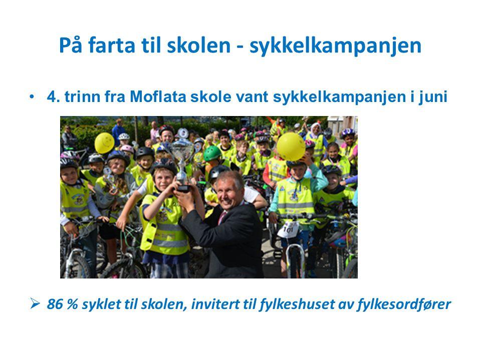 På farta til skolen - sykkelkampanjen 4. trinn fra Moflata skole vant sykkelkampanjen i juni  86 % syklet til skolen, invitert til fylkeshuset av fyl
