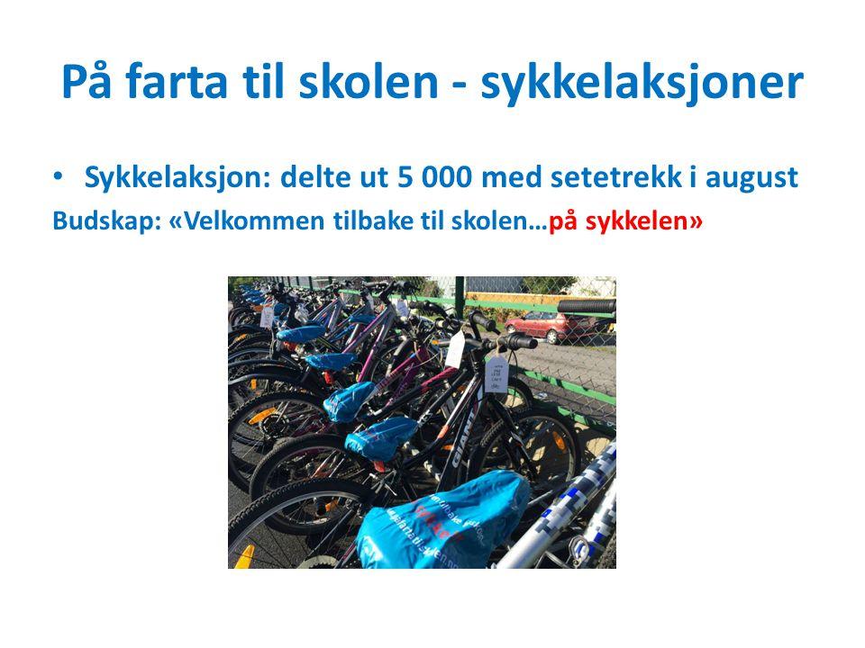 På farta til skolen - sykkelaksjoner Sykkelaksjon: delte ut 5 000 med setetrekk i august Budskap: «Velkommen tilbake til skolen…på sykkelen»
