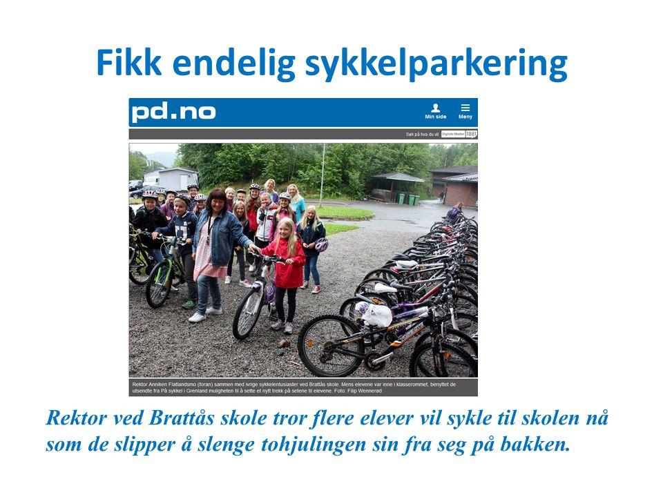 Fikk endelig sykkelparkering Rektor ved Brattås skole tror flere elever vil sykle til skolen nå som de slipper å slenge tohjulingen sin fra seg på bakken.