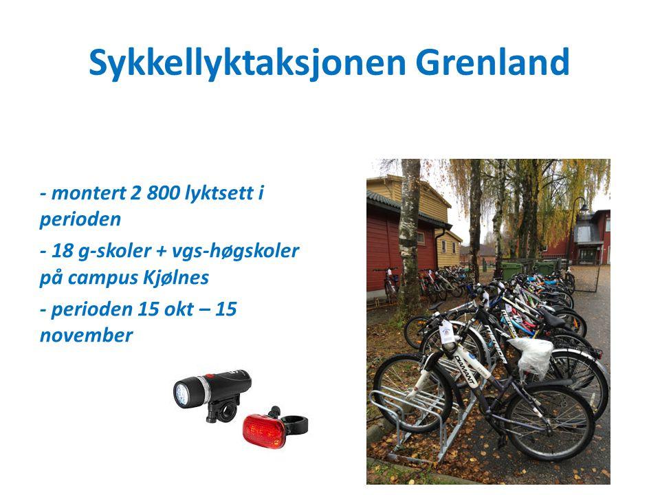 Sykkellyktaksjonen Grenland - montert 2 800 lyktsett i perioden - 18 g-skoler + vgs-høgskoler på campus Kjølnes - perioden 15 okt – 15 november