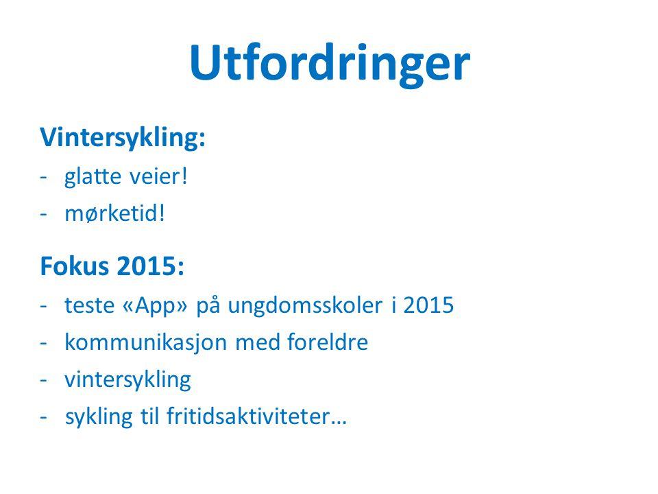 Utfordringer Vintersykling: -glatte veier! -mørketid! Fokus 2015: -teste «App» på ungdomsskoler i 2015 -kommunikasjon med foreldre -vintersykling - sy