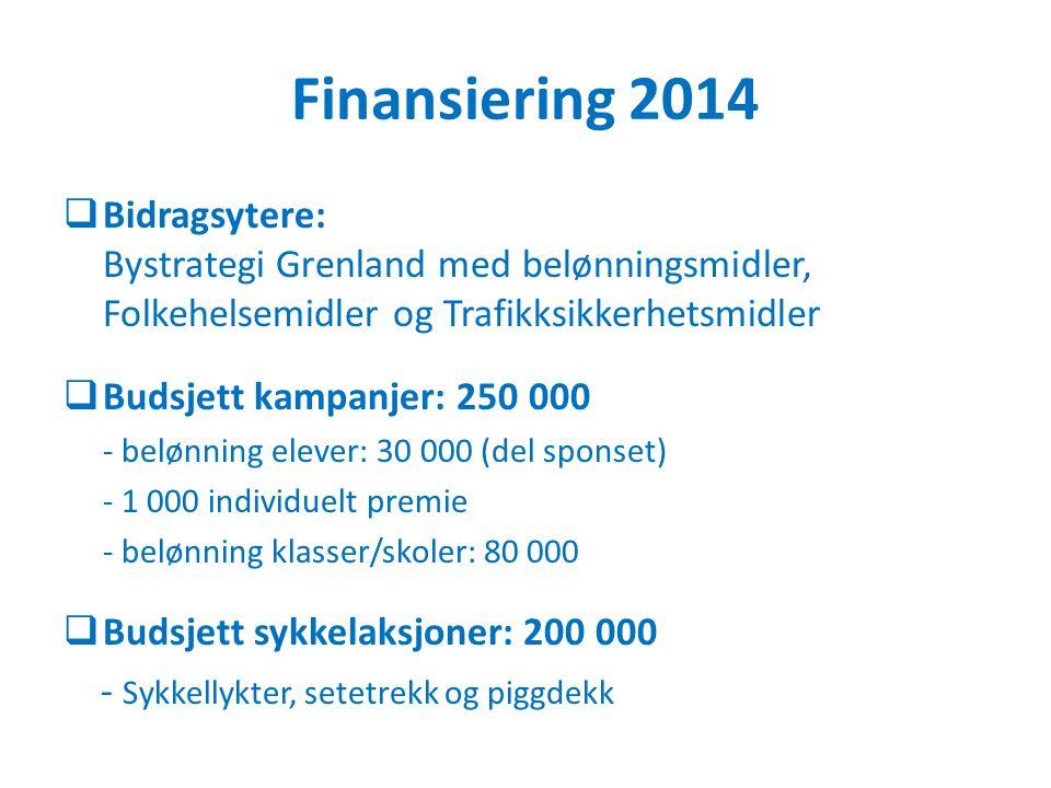 Finansiering 2014  Bidragsytere: Bystrategi Grenland med belønningsmidler, Folkehelsemidler og Trafikksikkerhetsmidler  Budsjett kampanjer: 250 000 - belønning elever: 30 000 (del sponset) - 1 000 individuelt premie - belønning klasser/skoler: 80 000  Budsjett sykkelaksjoner: 200 000 - Sykkellykter, setetrekk og piggdekk