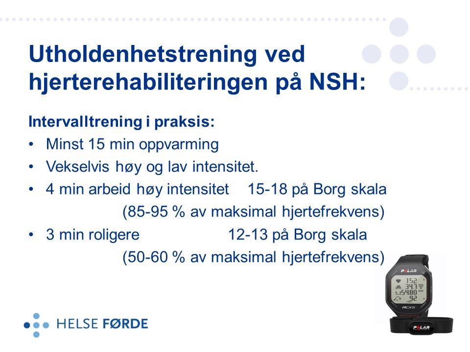 Intervalltrening i praksis: Minst 15 min oppvarming Vekselvis høy og lav intensitet. 4 min arbeid høy intensitet 15-18 på Borg skala (85-95 % av maksi