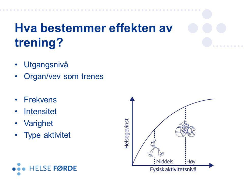 Utgangsnivå Organ/vev som trenes Frekvens Intensitet Varighet Type aktivitet Hva bestemmer effekten av trening?