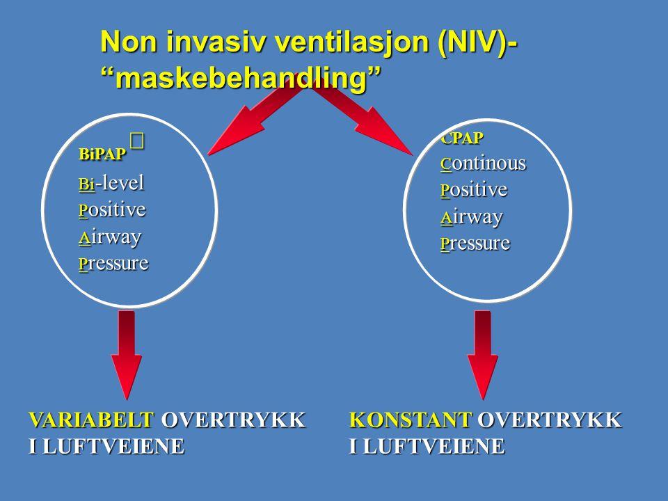 CPAP C ontinous P ositive A irway P ressure KONSTANT OVERTRYKK I LUFTVEIENE BiPAP  Bi -level P ositive A irway P ressure VARIABELT OVERTRYKK I LUFTVE