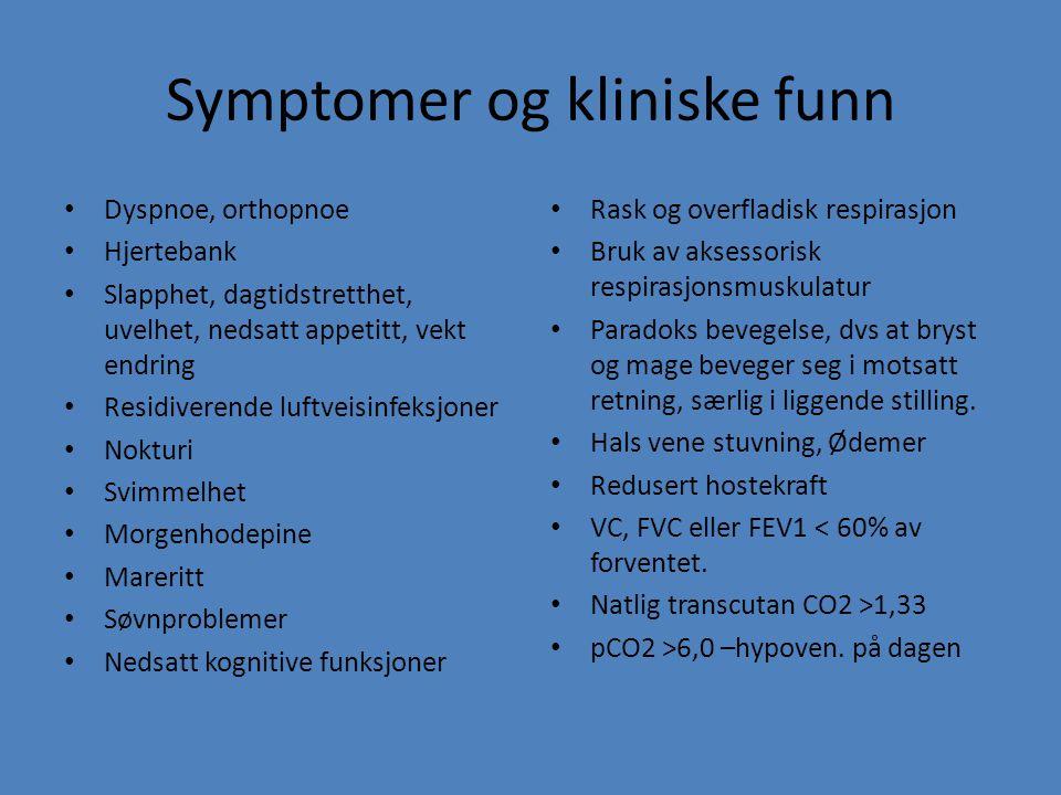 Symptomer og kliniske funn Dyspnoe, orthopnoe Hjertebank Slapphet, dagtidstretthet, uvelhet, nedsatt appetitt, vekt endring Residiverende luftveisinfe