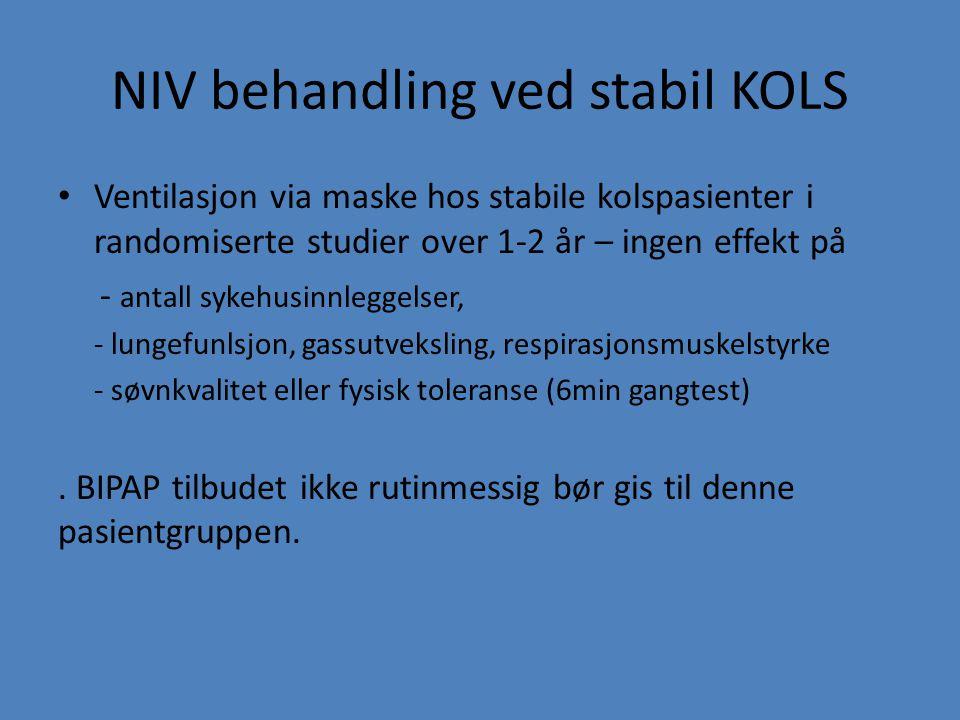 NIV behandling ved stabil KOLS Ventilasjon via maske hos stabile kolspasienter i randomiserte studier over 1-2 år – ingen effekt på - antall sykehusin