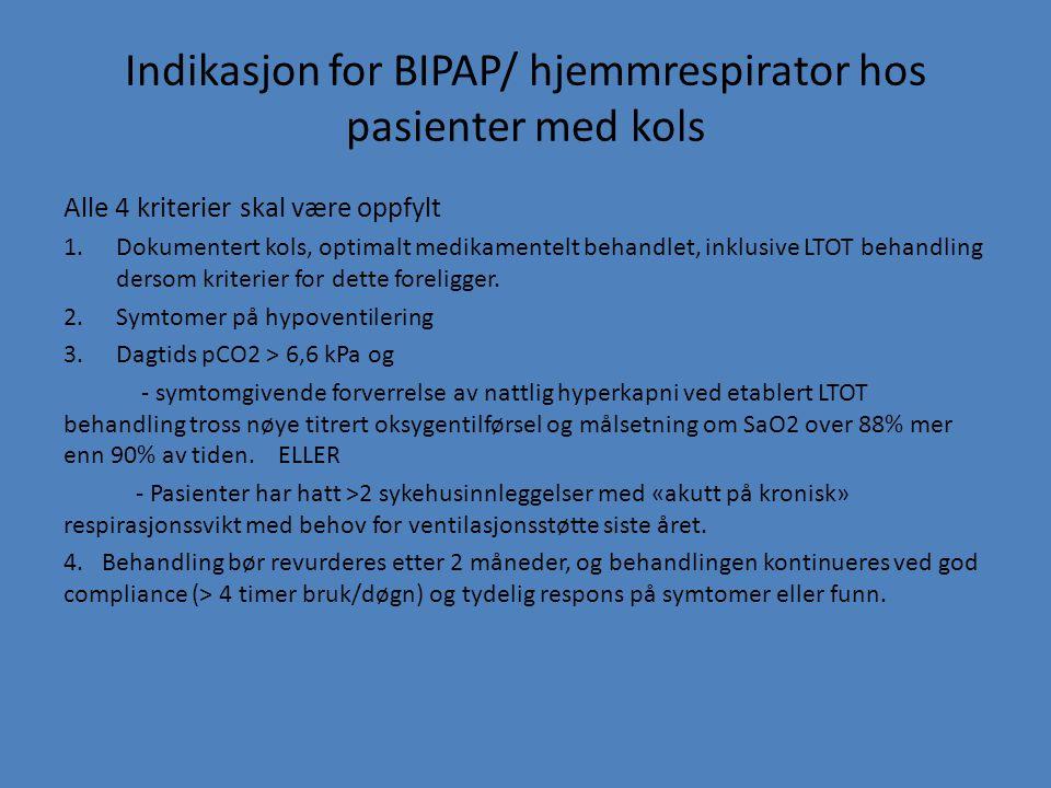 Indikasjon for BIPAP/ hjemmrespirator hos pasienter med kols Alle 4 kriterier skal være oppfylt 1.Dokumentert kols, optimalt medikamentelt behandlet,