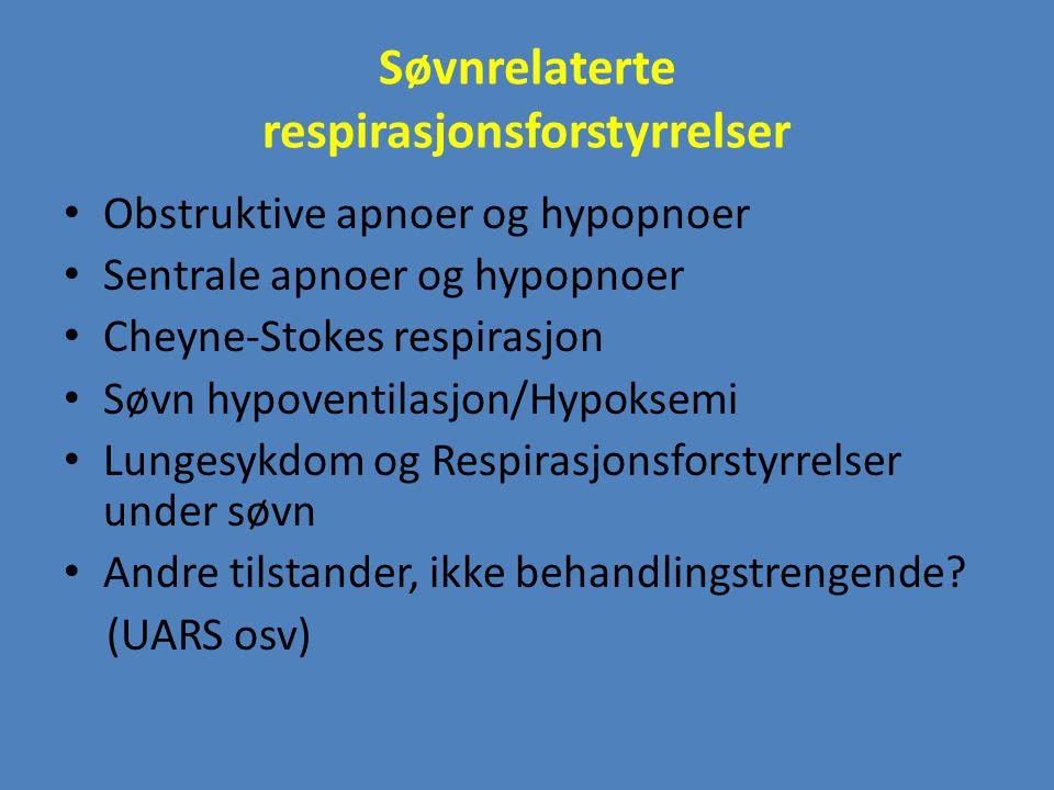 Søvnrelaterte respirasjonsforstyrrelser Obstruktive apnoer og hypopnoer Sentrale apnoer og hypopnoer Cheyne-Stokes respirasjon Søvn hypoventilasjon/Hy