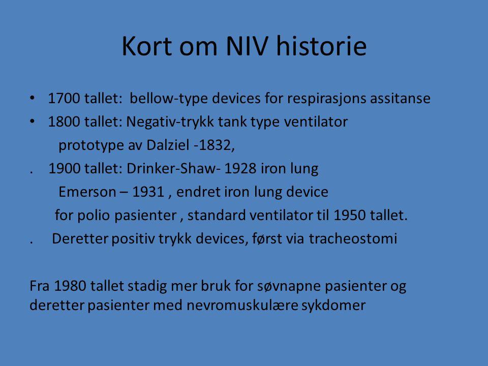 Kort om NIV historie 1700 tallet: bellow-type devices for respirasjons assitanse 1800 tallet: Negativ-trykk tank type ventilator prototype av Dalziel