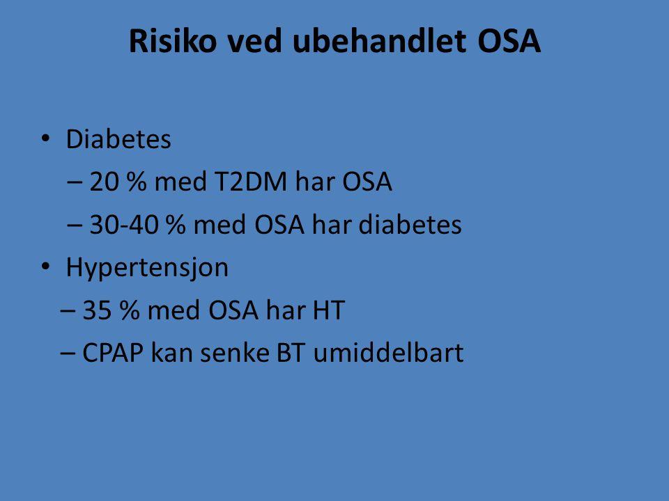 Risiko ved ubehandlet OSA Diabetes – 20 % med T2DM har OSA – 30-40 % med OSA har diabetes Hypertensjon – 35 % med OSA har HT – CPAP kan senke BT umidd