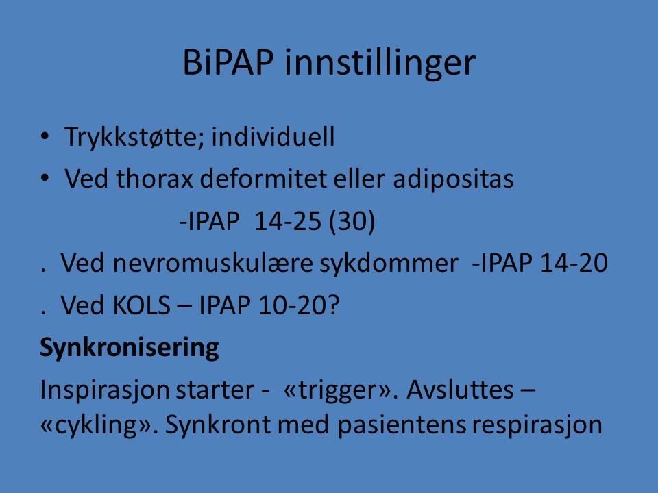 BiPAP innstillinger Trykkstøtte; individuell Ved thorax deformitet eller adipositas -IPAP 14-25 (30). Ved nevromuskulære sykdommer -IPAP 14-20. Ved KO