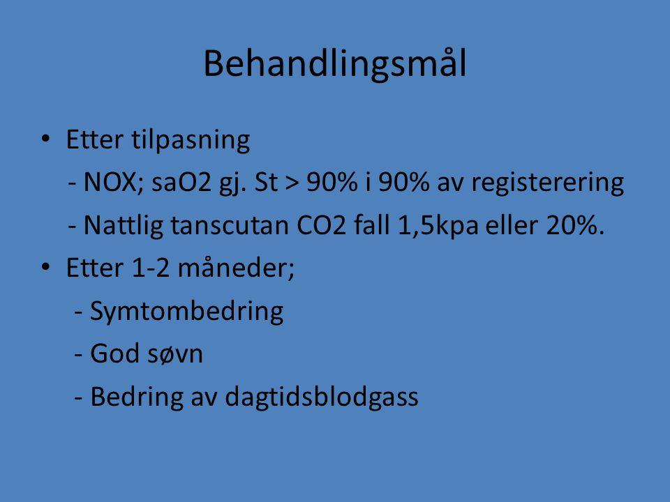 Behandlingsmål Etter tilpasning - NOX; saO2 gj. St > 90% i 90% av registerering - Nattlig tanscutan CO2 fall 1,5kpa eller 20%. Etter 1-2 måneder; - Sy