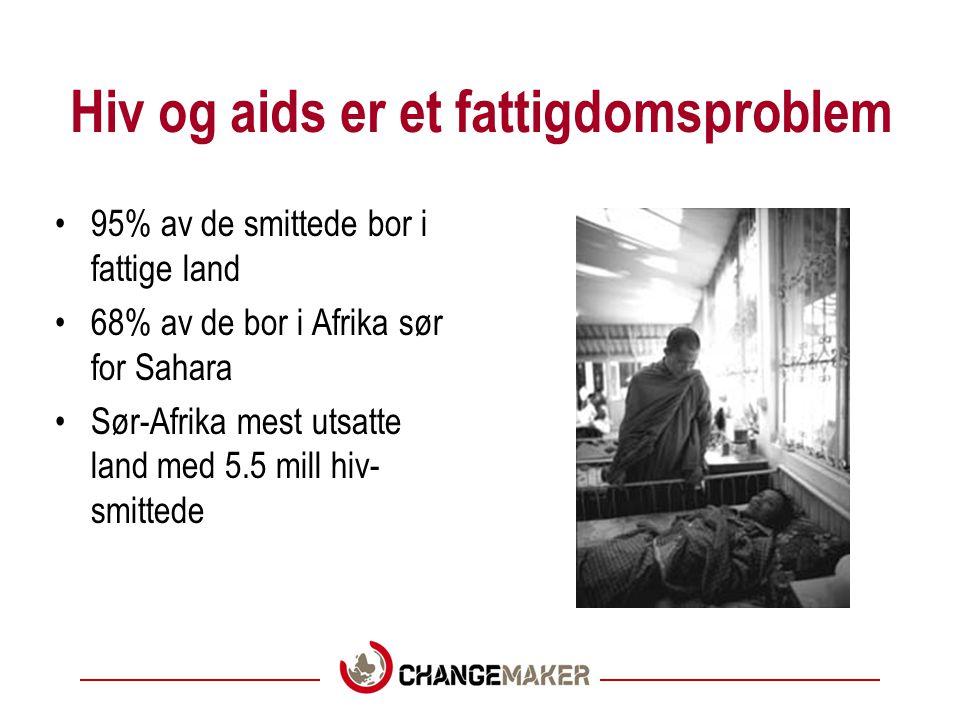 Hiv og aids er et fattigdomsproblem 95% av de smittede bor i fattige land 68% av de bor i Afrika sør for Sahara Sør-Afrika mest utsatte land med 5.5 mill hiv- smittede