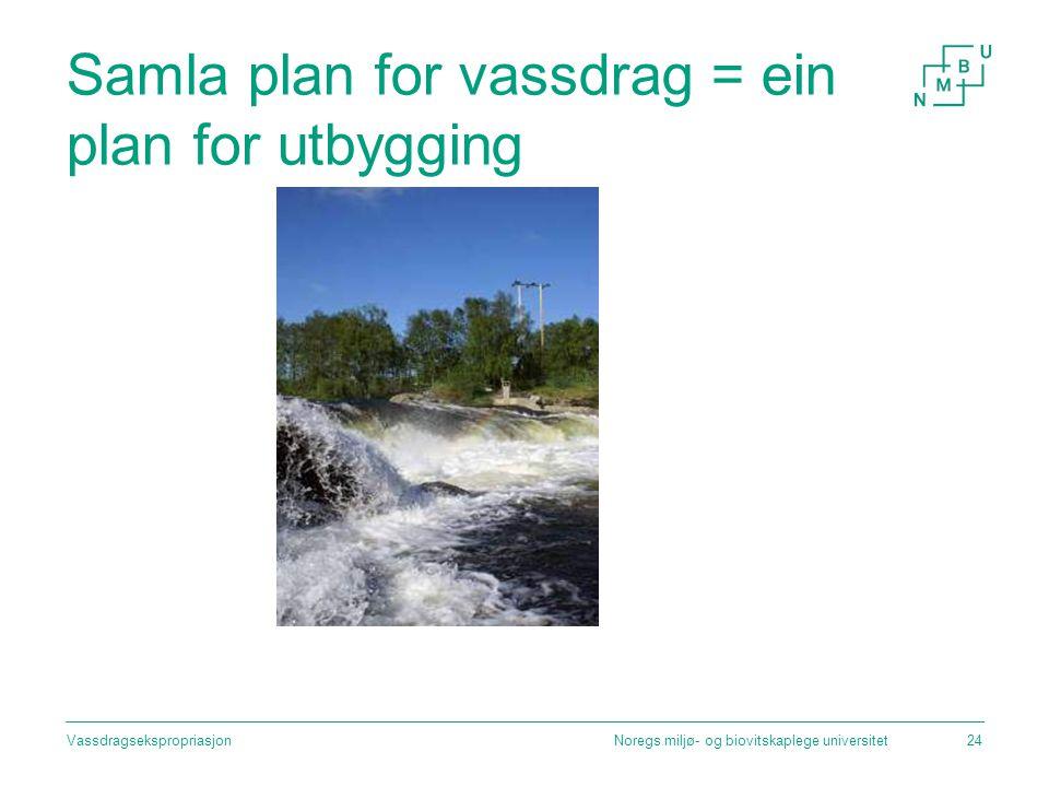 Samla plan for vassdrag = ein plan for utbygging Noregs miljø- og biovitskaplege universitetVassdragsekspropriasjon24