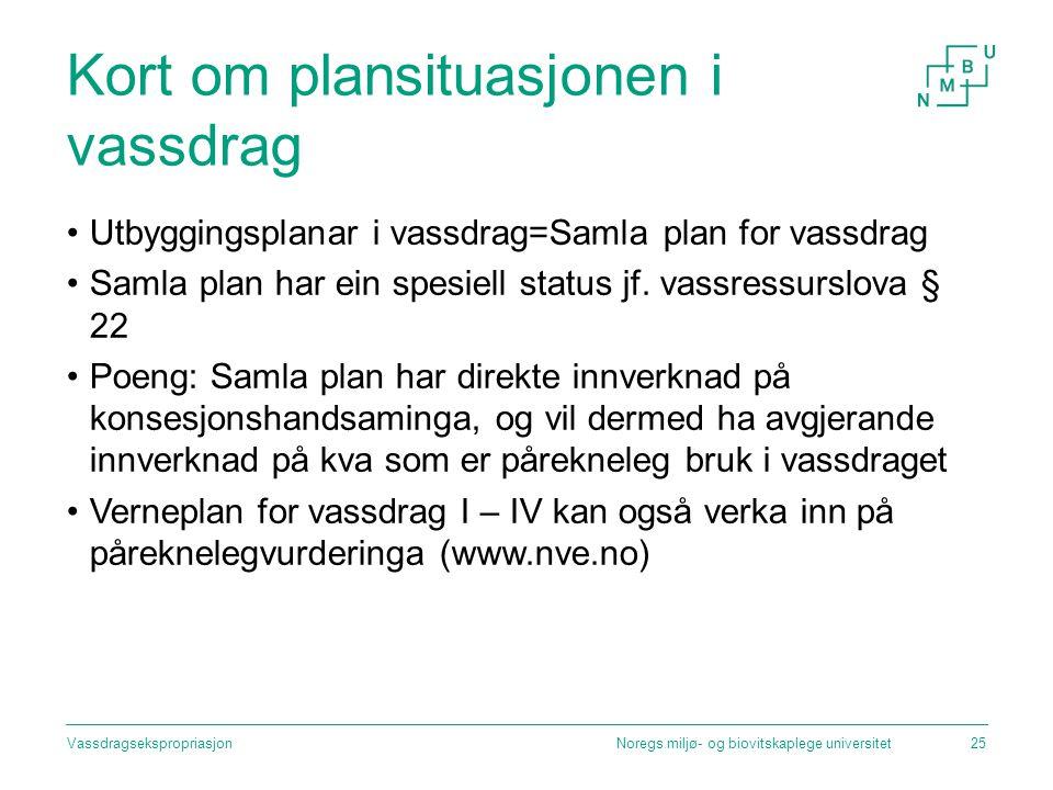 Kort om plansituasjonen i vassdrag Utbyggingsplanar i vassdrag=Samla plan for vassdrag Samla plan har ein spesiell status jf. vassressurslova § 22 Poe