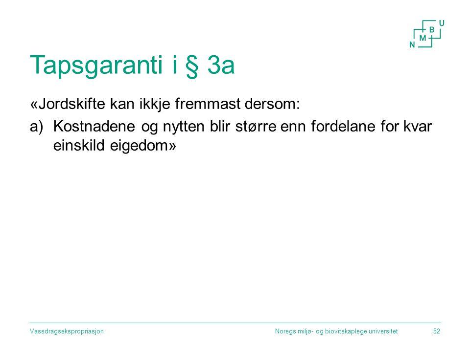 Tapsgaranti i § 3a «Jordskifte kan ikkje fremmast dersom: a)Kostnadene og nytten blir større enn fordelane for kvar einskild eigedom» Noregs miljø- og