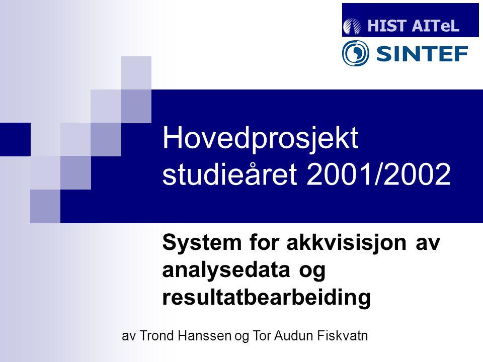 Hovedprosjekt studieåret 2001/2002 System for akkvisisjon av analysedata og resultatbearbeiding HIST AITeL av Trond Hanssen og Tor Audun Fiskvatn