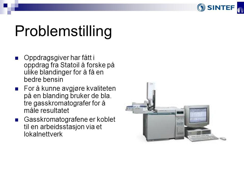 Problemstilling Oppdragsgiver har fått i oppdrag fra Statoil å forske på ulike blandinger for å få en bedre bensin For å kunne avgjøre kvaliteten på en blanding bruker de bla.