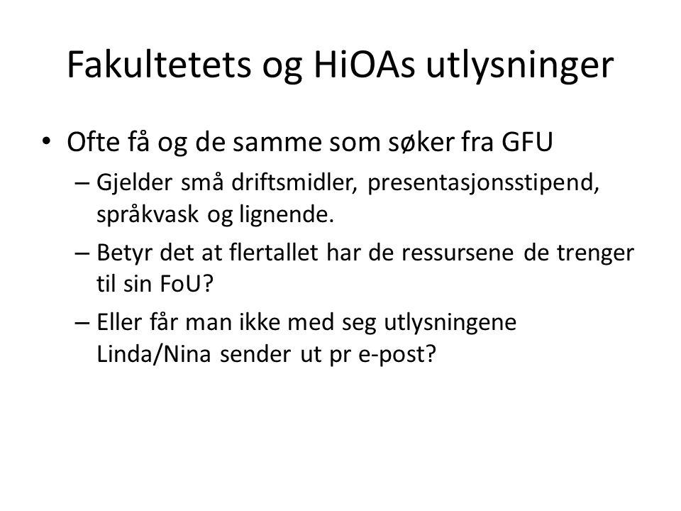 Fakultetets og HiOAs utlysninger Ofte få og de samme som søker fra GFU – Gjelder små driftsmidler, presentasjonsstipend, språkvask og lignende.