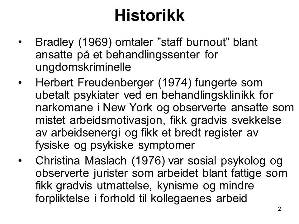 2 Historikk Bradley (1969) omtaler staff burnout blant ansatte på et behandlingssenter for ungdomskriminelle Herbert Freudenberger (1974) fungerte som ubetalt psykiater ved en behandlingsklinikk for narkomane i New York og observerte ansatte som mistet arbeidsmotivasjon, fikk gradvis svekkelse av arbeidsenergi og fikk et bredt register av fysiske og psykiske symptomer Christina Maslach (1976) var sosial psykolog og observerte jurister som arbeidet blant fattige som fikk gradvis utmattelse, kynisme og mindre forpliktelse i forhold til kollegaenes arbeid