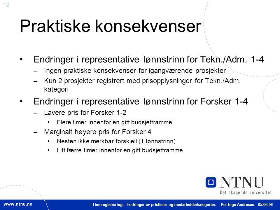 12 Praktiske konsekvenser Endringer i representative lønnstrinn for Tekn./Adm.