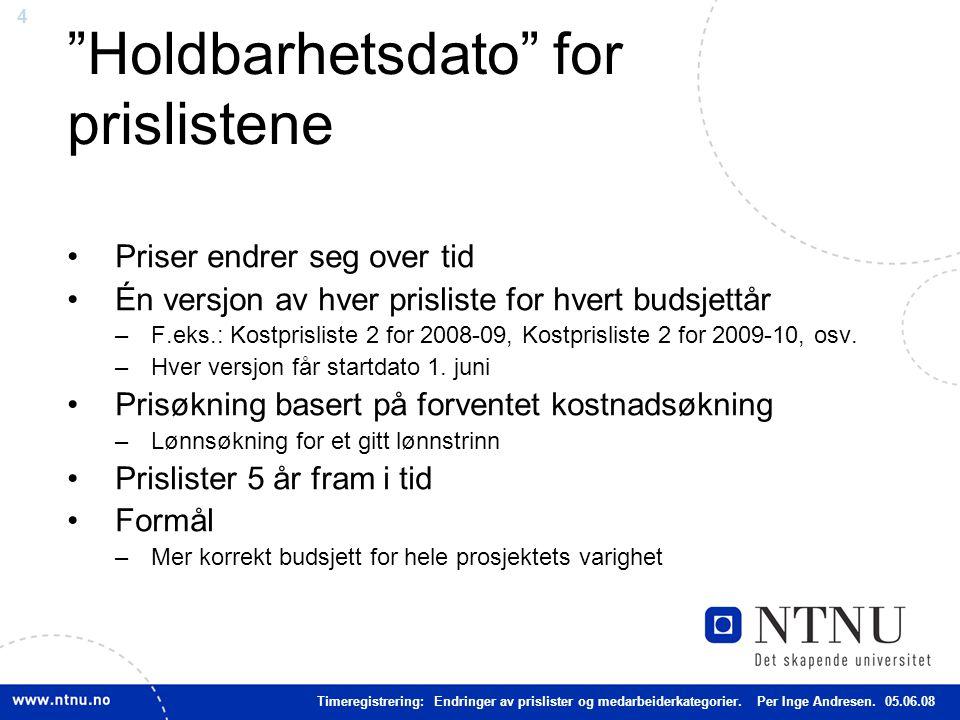 4 Holdbarhetsdato for prislistene Priser endrer seg over tid Én versjon av hver prisliste for hvert budsjettår –F.eks.: Kostprisliste 2 for 2008-09, Kostprisliste 2 for 2009-10, osv.