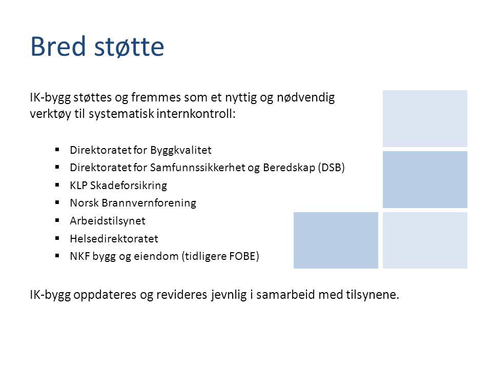 Bred støtte IK-bygg støttes og fremmes som et nyttig og nødvendig verktøy til systematisk internkontroll:  Direktoratet for Byggkvalitet  Direktorat