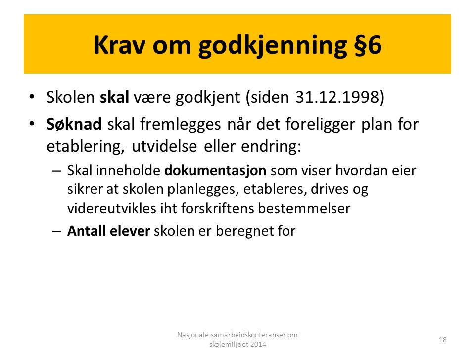 Krav om godkjenning §6 Skolen skal være godkjent (siden 31.12.1998) Søknad skal fremlegges når det foreligger plan for etablering, utvidelse eller end