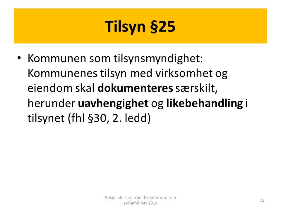 Tilsyn §25 Kommunen som tilsynsmyndighet: Kommunenes tilsyn med virksomhet og eiendom skal dokumenteres særskilt, herunder uavhengighet og likebehandl