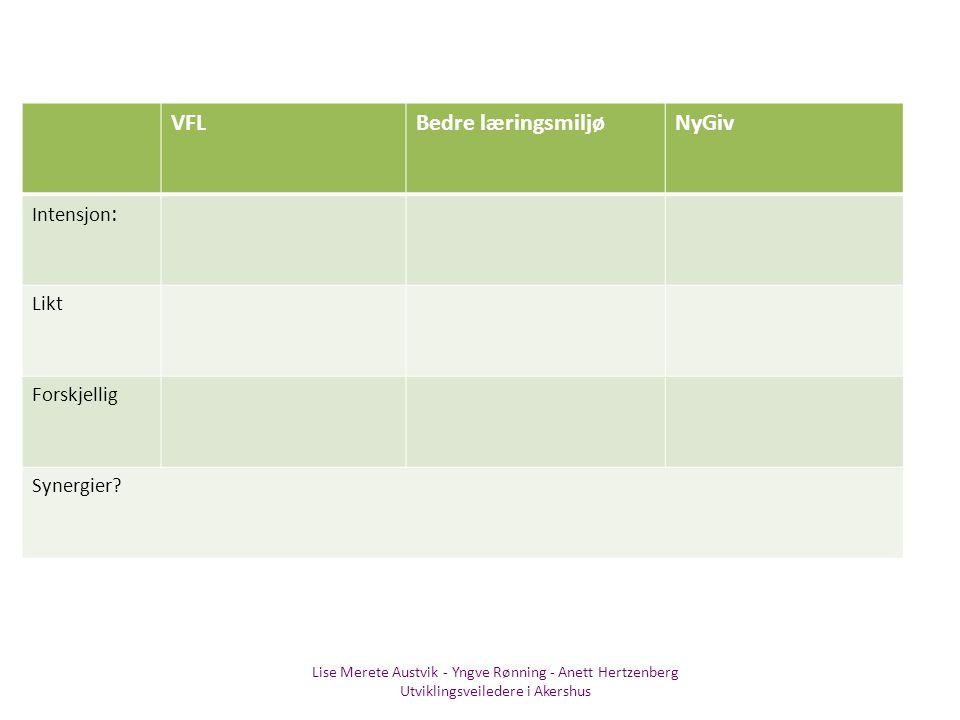 Lise Merete Austvik - Yngve Rønning - Anett Hertzenberg Utviklingsveiledere i Akershus VFLBedre læringsmiljøNyGiv Intensjon : Likt Forskjellig Synergi