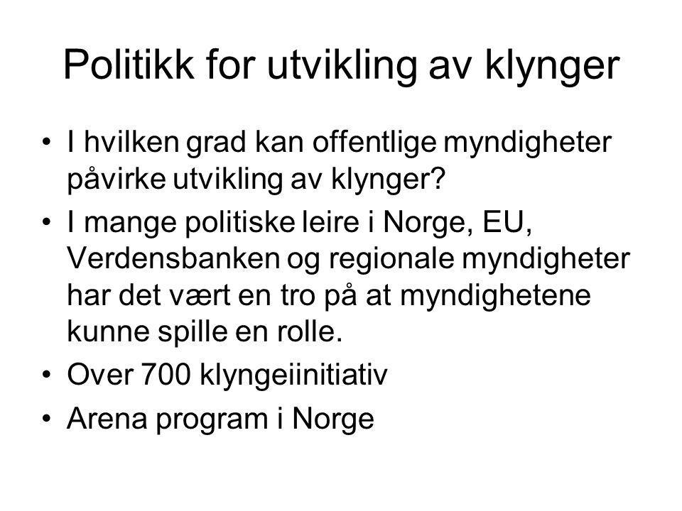 Politikk for utvikling av klynger I hvilken grad kan offentlige myndigheter påvirke utvikling av klynger? I mange politiske leire i Norge, EU, Verdens