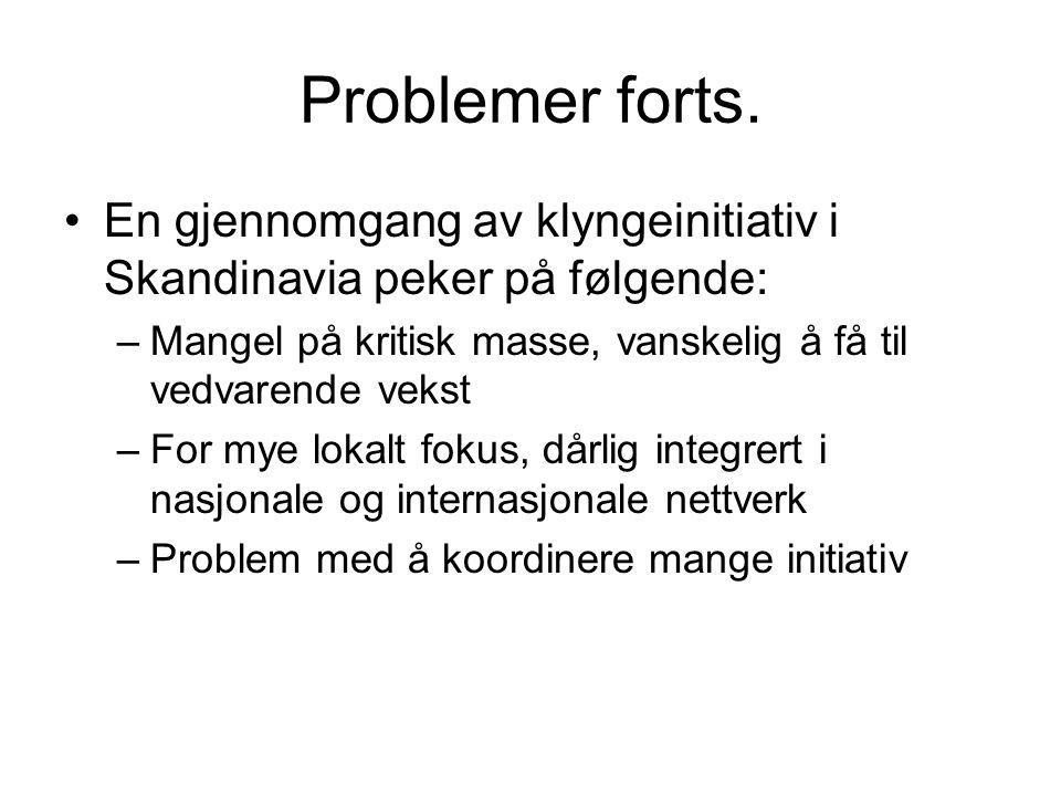 Problemer forts. En gjennomgang av klyngeinitiativ i Skandinavia peker på følgende: –Mangel på kritisk masse, vanskelig å få til vedvarende vekst –For