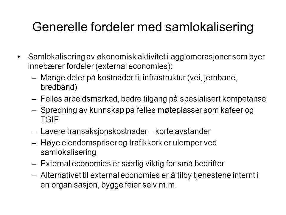 Generelle fordeler med samlokalisering Samlokalisering av økonomisk aktivitet i agglomerasjoner som byer innebærer fordeler (external economies): –Man