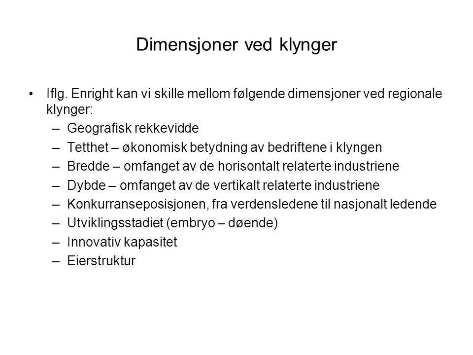 Dimensjoner ved klynger Iflg. Enright kan vi skille mellom følgende dimensjoner ved regionale klynger: –Geografisk rekkevidde –Tetthet – økonomisk bet