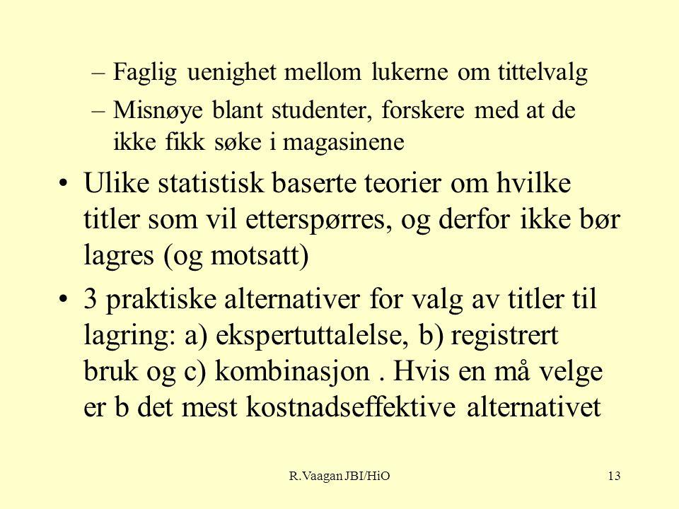 R.Vaagan JBI/HiO13 –Faglig uenighet mellom lukerne om tittelvalg –Misnøye blant studenter, forskere med at de ikke fikk søke i magasinene Ulike statistisk baserte teorier om hvilke titler som vil etterspørres, og derfor ikke bør lagres (og motsatt) 3 praktiske alternativer for valg av titler til lagring: a) ekspertuttalelse, b) registrert bruk og c) kombinasjon.