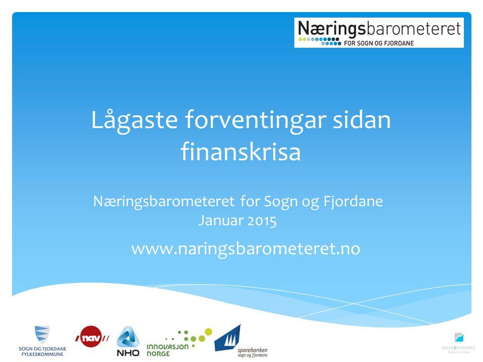 Lågaste forventingar sidan finanskrisa www.naringsbarometeret.no Næringsbarometeret for Sogn og Fjordane Januar 2015