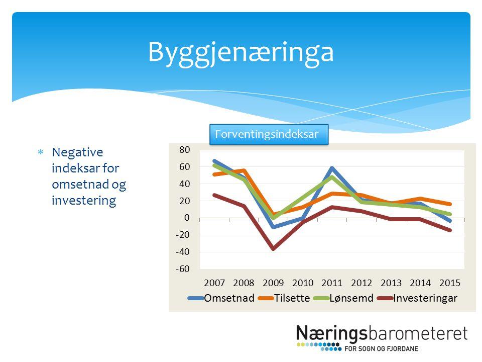  Negative indeksar for omsetnad og investering Byggjenæringa Forventingsindeksar