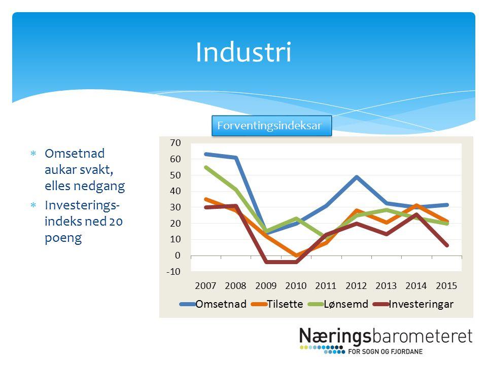  Omsetnad aukar svakt, elles nedgang  Investerings- indeks ned 20 poeng Industri Forventingsindeksar