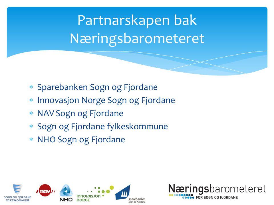  Sparebanken Sogn og Fjordane  Innovasjon Norge Sogn og Fjordane  NAV Sogn og Fjordane  Sogn og Fjordane fylkeskommune  NHO Sogn og Fjordane Partnarskapen bak Næringsbarometeret