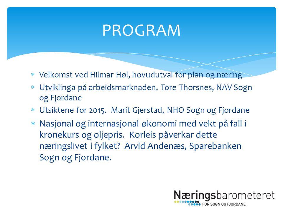  Velkomst ved Hilmar Høl, hovudutval for plan og næring  Utviklinga på arbeidsmarknaden.