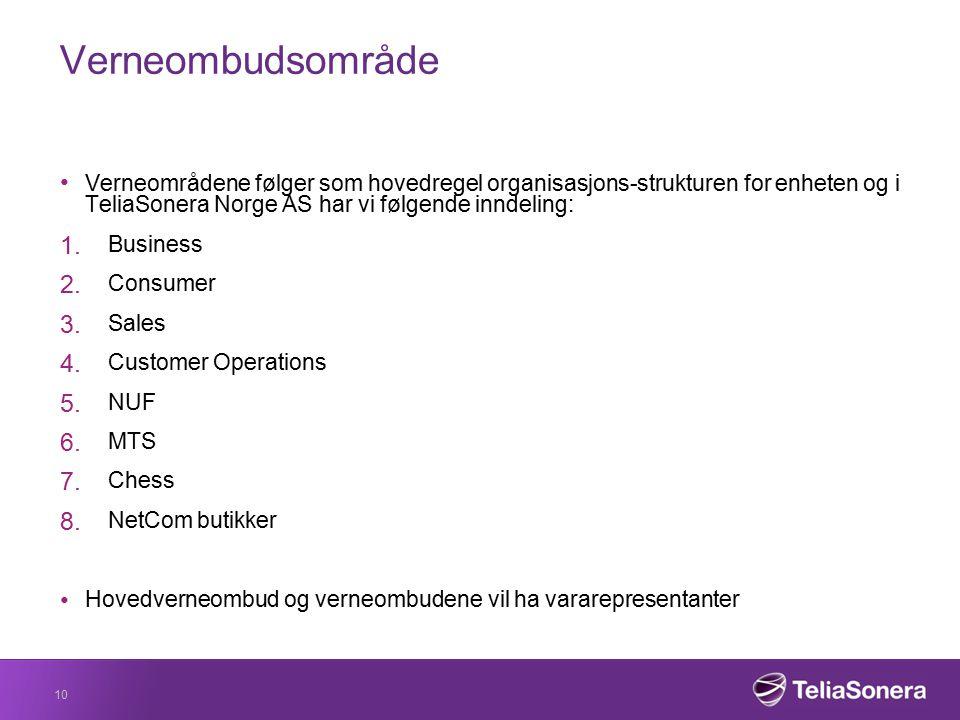 Verneombudsområde Verneområdene følger som hovedregel organisasjons-strukturen for enheten og i TeliaSonera Norge AS har vi følgende inndeling: 1. Bus