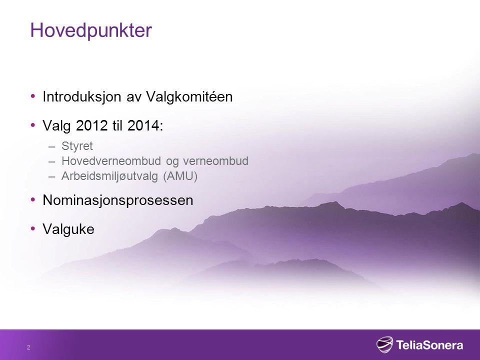 Hovedpunkter Introduksjon av Valgkomitéen Valg 2012 til 2014: –Styret –Hovedverneombud og verneombud –Arbeidsmiljøutvalg (AMU) Nominasjonsprosessen Va