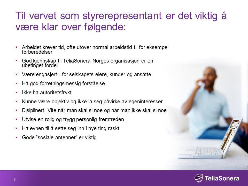 Hovedverneombud og verneombud TeliaSonera Norge AS vil ha ett hovedverneombud og 8 verneombud.