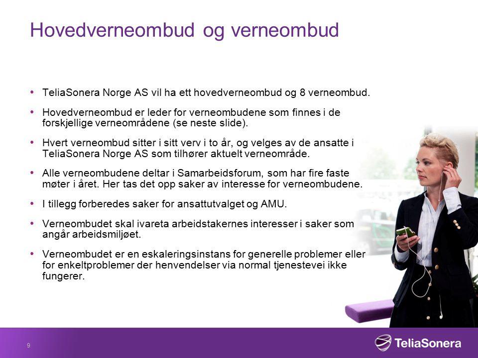 Verneombudsområde Verneområdene følger som hovedregel organisasjons-strukturen for enheten og i TeliaSonera Norge AS har vi følgende inndeling: 1.