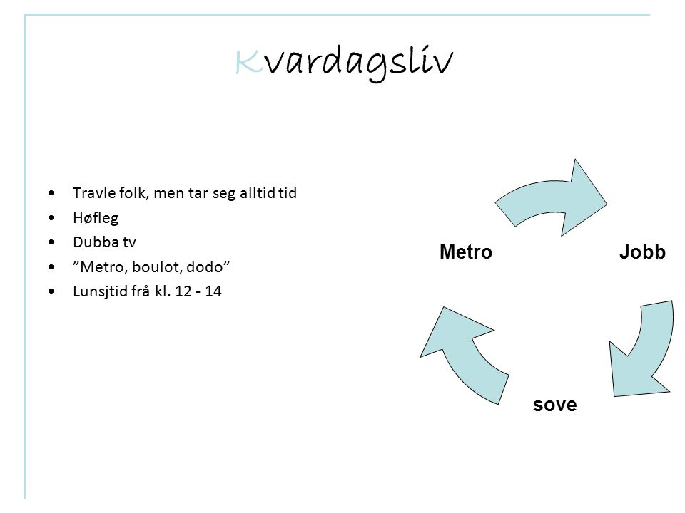 Kvardagsliv Travle folk, men tar seg alltid tid Høfleg Dubba tv Metro, boulot, dodo Lunsjtid frå kl.