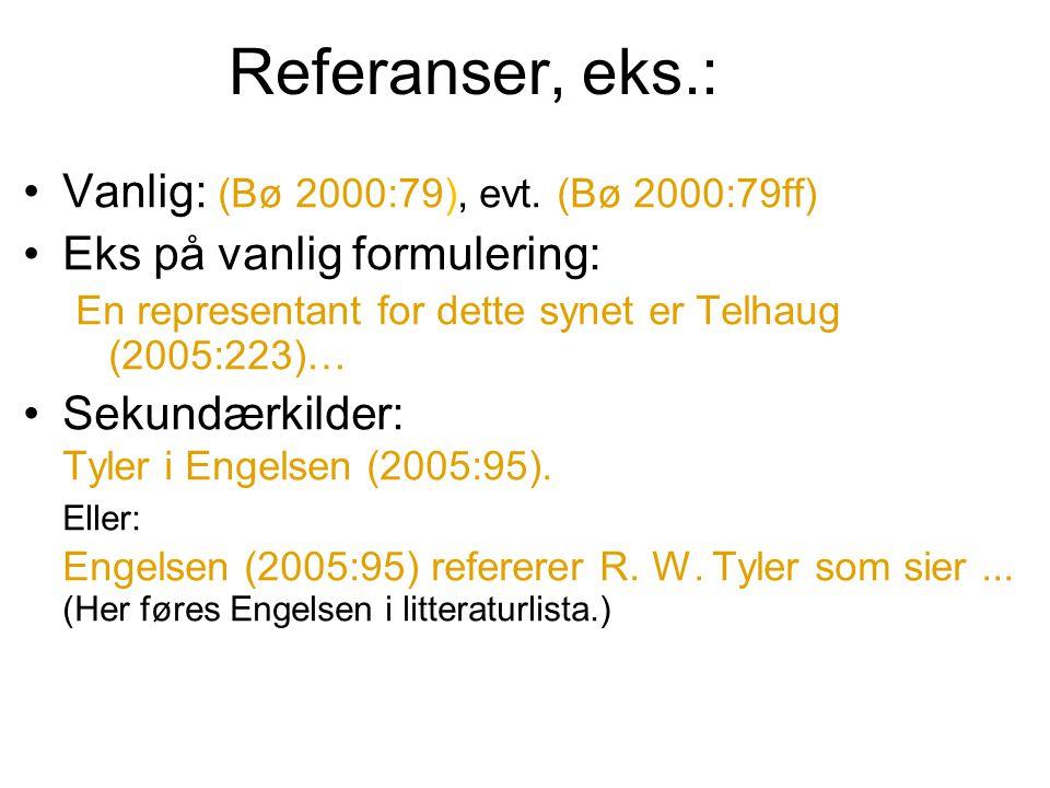 Referanser, eks.: Vanlig: (Bø 2000:79), evt.